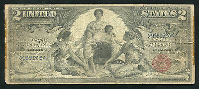 """Fr. 247 1896 $2 Two Dollars """"educational"""" Silver Certificate Note"""
