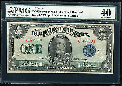 DC-25h 1923 SERIES A $1 GROUP 2, BLUE SEAL DOMINION OF CANADA PMG EF-40