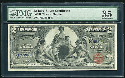 """Fr. 247 1896 $2 Two Dollars """"educational"""" Silver Certificate Pmg Choice Vf-35"""