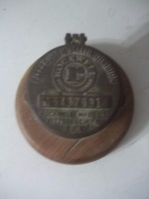 VINTAGE Rockwell Meter Cover Brass Paperweight Pittsburgh, PA ADVERTISING