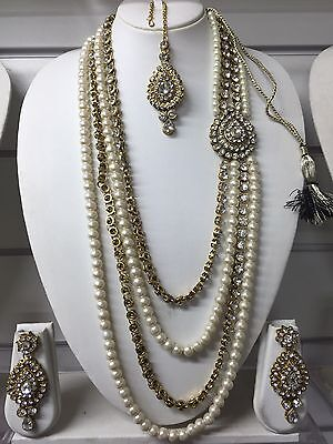 New Bollywood Indian Bridal Jewellery Rani Haar Necklace Gold White Pearl
