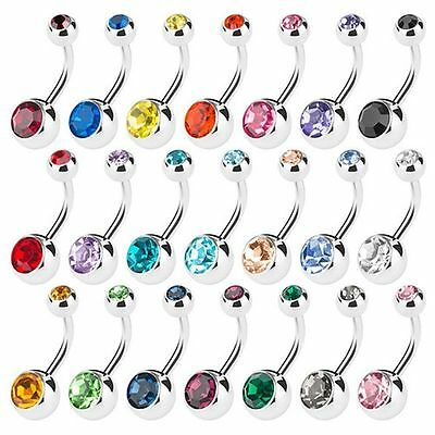 15Pcs Surgical Crystal Belly Bars Jewellery Navel Button Ring Gem Body PiercingS