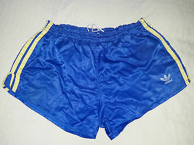 "Nos Vintage Adidas Nylon Gym Shorts 36"" Large D7 Shiny Satin Blue Glanz Rare"