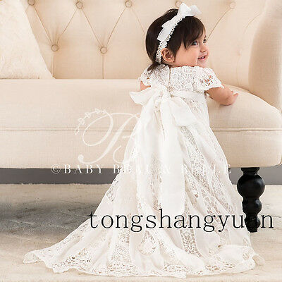 Hot Sell Baby Baptism Dresses White Ivory With Bonnet Christening Gowns Blessing