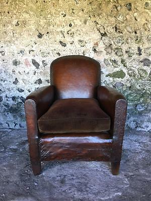 Compact Antique French Conker Leather Club Arm Chair C1950 Vintage