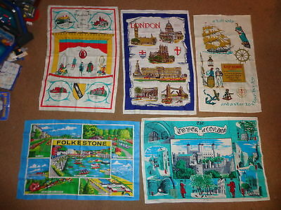 Vintage Fast Colours Pure Irish Linen Towels (5) 1980's Scenic Wall Decorations