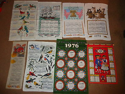Hanging Calendar Linen Towels (8) 1970's Illustrated Wall Birds Decorations #5