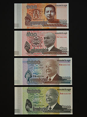 Cambodia  Banknotes - Set Of  4  Notes  100 - 2000 Riels    * Unc *   Date  2015