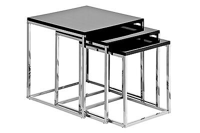 Black High Gloss Set Of 3 Nest Of Tables With Chrome Frame
