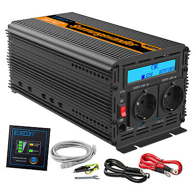 Convertisseur 12V 220V 2000W 4000W Onduleur Power Inverter LCD display Softstart