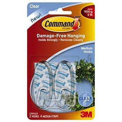 COMMAND 17091 Medium Hooks & Strips. Pk2 Holds up to 2lb/900g -Clear/Transparent