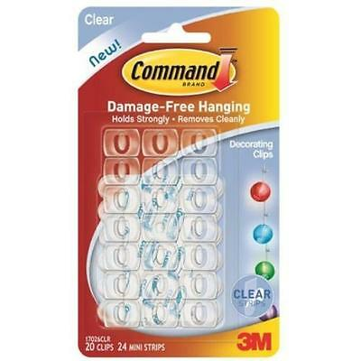 COMMAND 17026 Reusable Decorating Clips-Decorations/Christmas/Lights.Pk 20-Clear