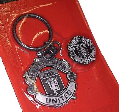 Manchester United Club Crest Pewter Keyring & Pin Badge Very Rare