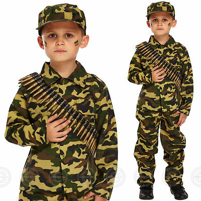 Boys Army Fancy Dress Costume Soldier Outfit Uniform Military Kids Childs Camo