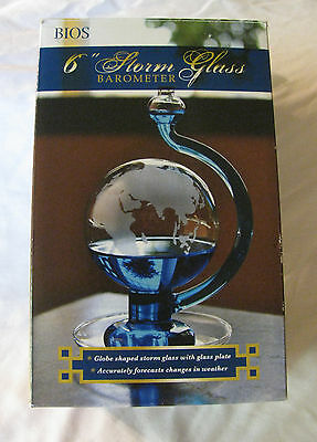Globe Shaped Storm Glass Barometer with Etched Detailing NIB