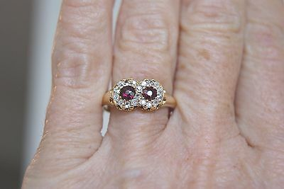 Victorian 18 Ct Pidgeon Blood Double Cluster 0.30Ct Ruby+Old Cut Diamond Ring