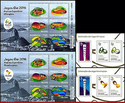 16-1343 Brazil 2016 Olympic And Paralympic Games, Rio 2016, Arenas, Torch, Mnh