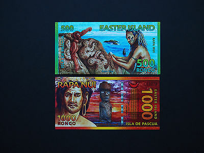 Easter Island Banknotes   -   Set Of Two Super Quality Art Notes       Mint Unc