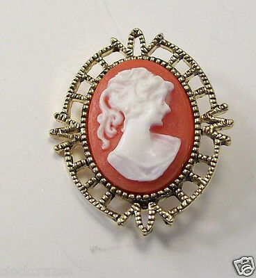 Vintage DESIGNER AA1 CAMEO Pin BROOCH Goldtone & Resin Cameo XLNT 1-1/2""