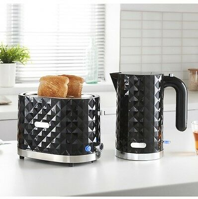 Diamond Stylish 1.5L Electric Kettle and 2 Slice Toaster Breakfast Set in Black