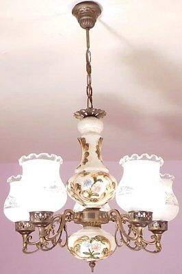Lovely Vintage French Country/Rustic 5 Light Ceramic and Brass Chandelier