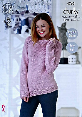 KNITTING PATTERN Ladies Very Easy Knit Long Sleeve Jumper Chunky King Cole 4762