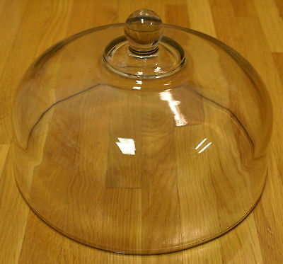 """Heavy Glass Cake Plate Dome Cover Lid - Clear Glass Replacement Dome 10 1/8"""""""