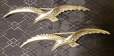 Sterling Silver Pair of Large Eagle Pins Brooches Large Wings 925