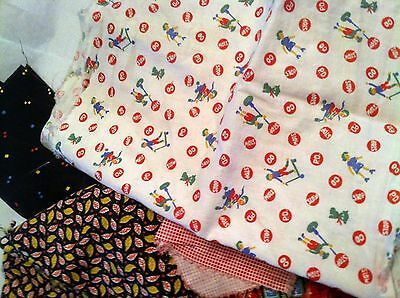 Vintage Quilt Scrap Fabric & Feedsack Mix Pcs Lot 2 Lbs Old Novelty + Childrens