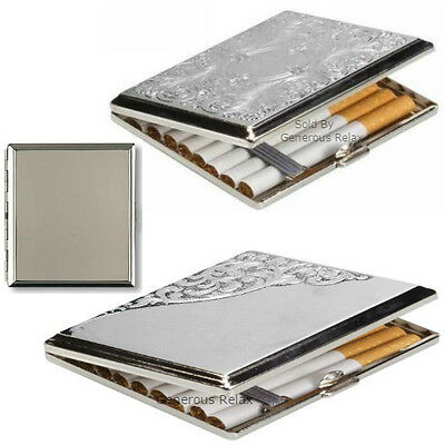 Metal Double Sided CIGARETTE CASE ~ silver metal engraved design Perfect Gift