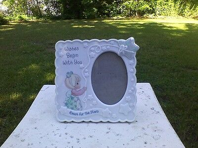 """Precious Moments Photo Frame """"Wishes Begin With You Reach for the Stars"""" 1998"""