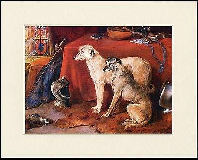 Deerhound Lovely Little Dog Print Two Dogs Mounted Ready To Frame