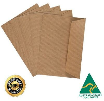100 X C6 Premium BROWN RIBBED Kraft Envelopes Peel N Seal Invitation DIY A Grade