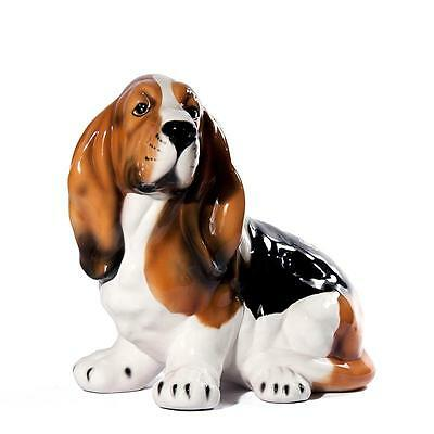 Intrada Italian Ceramic Small Basset Hound Statue Dog Figurine Handmade in Italy