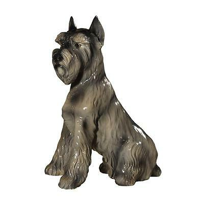 Intrada Italian Ceramic Sitting Schnauzer Statue Dog Figurine Made in Italy