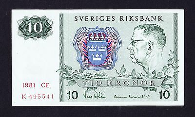 1981 SWEDEN 10 KRONOR BANKNOTE Excellent Condition