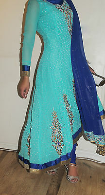 Size Small 8-10 Small Sea Green Blue RDC Kameez Tail Hi Low Dress Gown Designer