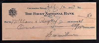 1927 The First National Bank - Childress, Texas