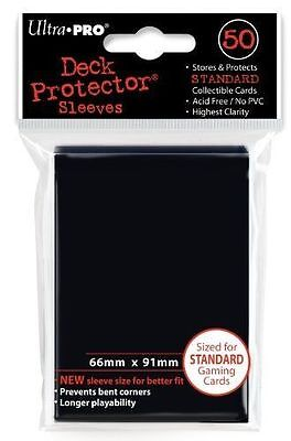100 x ULTRA PRO: STANDARD SIZE CARD SLEEVES - DECK PROTECTORS - SIZE BLACK