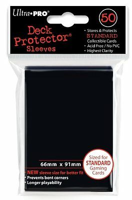 50 x ULTRA PRO: STANDARD SIZE CARD SLEEVES - DECK PROTECTORS - SIZE BLACK
