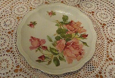 """Antique Roses 12"""" Porcelain Plate Hand Painted 3 Crowns China Germany(2733)"""