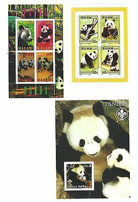 STAMP SHEET * 3 DIFFERENT - Giant Panda