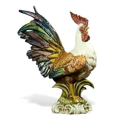 Intrada Italian Ceramic Colored Rooster Chicken Statue Figurine Made in Italy