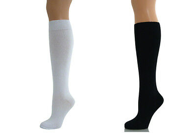 Black or White Women Ladies Girls School Knee High Cotton Plain Long Socks