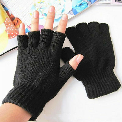 High Quality Ladies Women Black Half Finger Magic Thermal Gloves