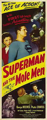 SUPERMAN AND THE MOLE MEN Movie POSTER 14x36 Insert George Reeves Phyllis Coates