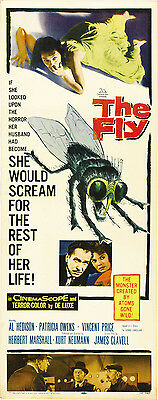THE FLY Movie POSTER 14x36 Insert David Hedison Patricia Owens Vincent Price