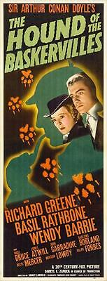 THE HOUND OF THE BASKERVILLES Movie POSTER 14x36 Insert Basil Rathbone Nigel