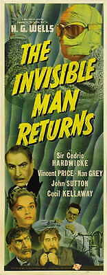 THE INVISIBLE MAN RETURNS Movie POSTER 14x36 Insert Cedric Hardwicke Vincent