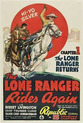 THE LONE RANGER RIDES AGAIN Movie POSTER 27x40 D Clayton Moore Jay Silverheels